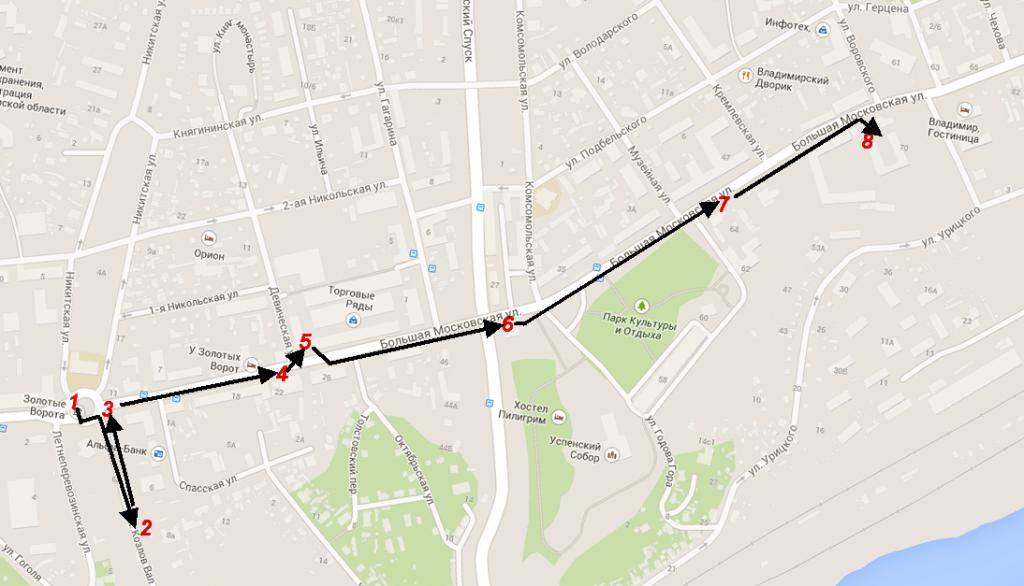 Город Владимир - пешеходная экскурсия с цифрами и стрелками