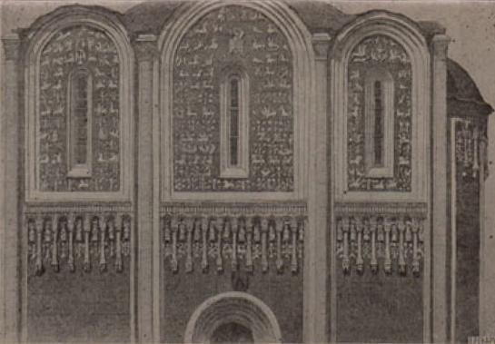 Верхняя часть южной стены Дмитриевского собора