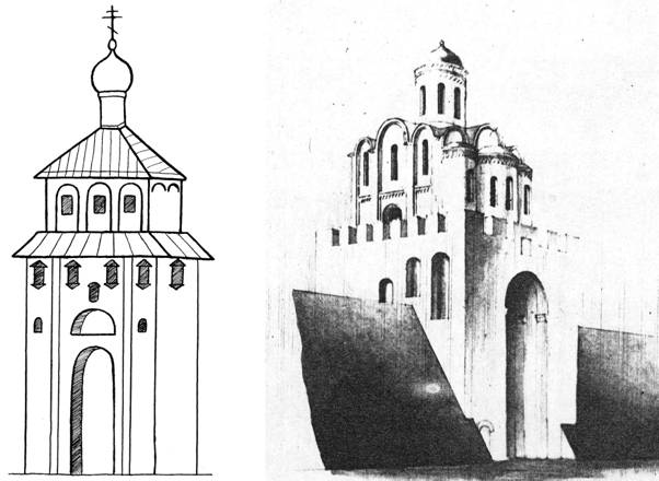 Золотые ворота. Рисунок с натуры 1764 г.; Реконструкция А.В. Столетова 1966 г.