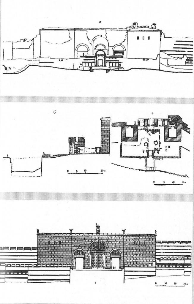 Иллюстрация Золотые ворота Константинополя (реконуструкция): а - наружный фасад, б - поперечный разрез, в - план, г - наружный фасад в 450 г.