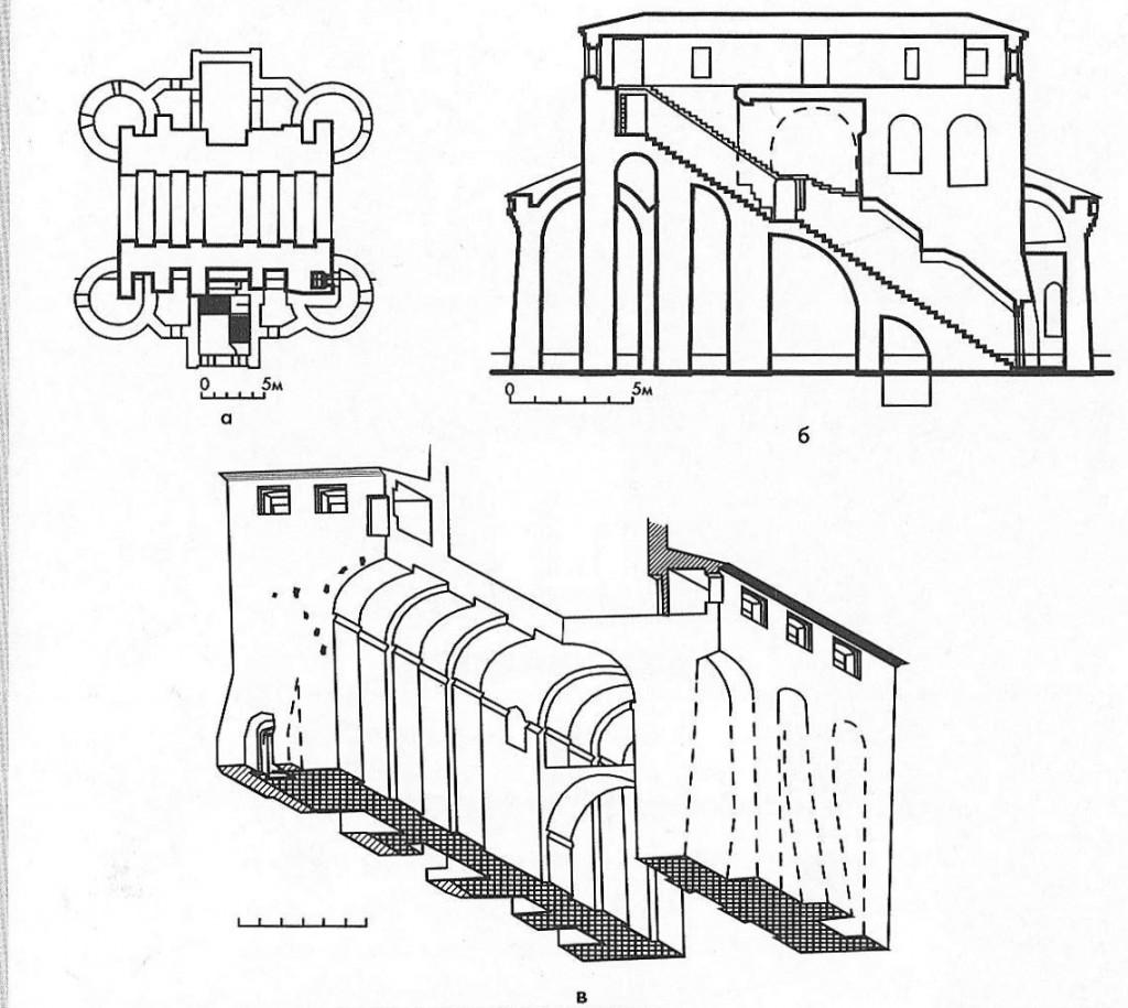 Илл 9. Золотые ворота. Обмер Г.Ф. Корзухиной. а - план, б - древняя лестница, в - аксонометрия