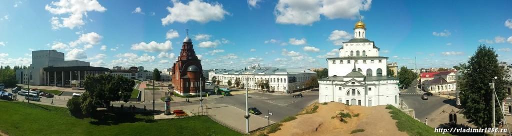 Панорама. Вид с Козлов Вала на золотые ворота и театральную площадь.